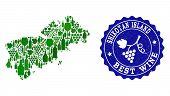 Vector Collage Of Wine Map Of Shikotan Island And Best Grape Wine Grunge Watermark. Map Of Shikotan  poster
