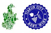 Vector Collage Of Wine Map Of Tianjin Municipality And Best Grape Wine Grunge Seal. Map Of Tianjin M poster
