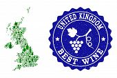 Vector Collage Of Wine Map Of United Kingdom And Best Grape Wine Grunge Seal. Map Of United Kingdom  poster
