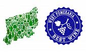 Vector Collage Of Wine Map Of West Pomerania Province And Best Grape Wine Grunge Seal Stamp. Map Of  poster