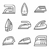 Smoothing-iron Icons Set. Outline Set Of Smoothing-iron Vector Icons For Web Design Isolated On Whit poster
