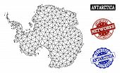 Black Mesh Vector Map Of Antarctica Isolated On A White Background And Scratched Watermarks For Netw poster
