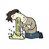 image of puke  - vomiting man cartoon - JPG