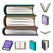 Isolated Object Of Library And Textbook Icon. Set Of Library And School Vector Icon For Stock. poster