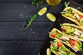 Mexican Tacos With Chicken Meat, Avocado, Tomato, Cucumber And Red Onion. Healthy Tortilla. Wrap Foo poster