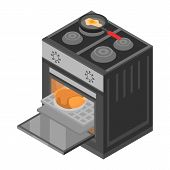 Cooker Stove Icon. Isometric Of Cooker Stove Icon For Web Design Isolated On White Background poster