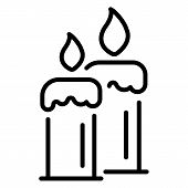 Burning Candles Icon. Outline Burning Candles Icon For Web Design Isolated On White Background poster