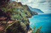 The Kalalau Trail Is A Trail Along Na Pali Coast Of The Island Of Kauai In The State Of Hawaii. poster