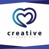 Love Line Logo Icon Vector Template, Vector Stock poster