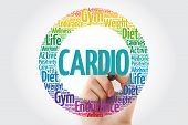Cardio Word Cloud With Marker, Health Concept Background poster