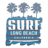 Surfing Artwork. Long Beach California T-shirt Apparel Print Graphics. Vintage Graphic Tee. Vector I poster