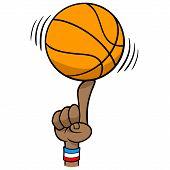 Basketball Spinning On Finger - A Vector Cartoon Illustration Of A Basketball Spinning On Finger. poster