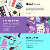 Hairdressing Equipment Setof Banners Vector Illustration. Hairdresser, Beauty Salon, Hair Color. Hai poster