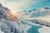 Winter Snow River In Mountains. Snow Winter Mountain River Valley Landscape. Winter Snow River In Wi poster