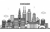 Chicago City Tour Cityscape Skyline Line Outline Illustration poster