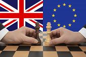British And European Union Brexit Negotiations. Chess Game Concept. poster