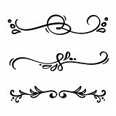 Vector Vintage Line Elegant Dividers And Separators, Swirls And Corners Decorative Ornaments. Floral poster
