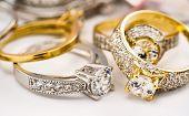 Engagement Diamond Wedding Ring Group On White Background, Diamond, Golden Rings poster
