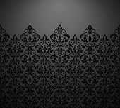 Wallpaper In The Style Of Baroque. Vector Background. Black And Grey Floral Ornament. Graphic Patter poster