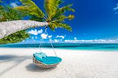 Tropical Beach Background As Summer Landscape With Beach Swing Or Hammock And White Sand And Calm Se poster