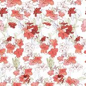 Illustration Of Seamless Pattern With Branch Pink Rhododendron. Hand Drawn Flowers For Textile And B poster