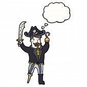 pic of peg-leg  - cartoon pirate captain with hook and peg leg - JPG