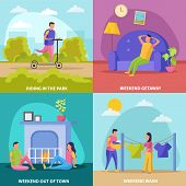 Lazy Weekends People Flat Icon Set With Riding In The Park Weekend Getaway Wash And Out Of Town Desc poster