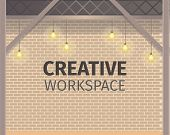 Creative Coworking Workspace. Brick Wall Banner. Freelance Open Area For Business, Work And Study. S poster