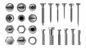 Metal Screw Set Vector. Stainless Bolt. Hardware Repair Tools. Head Icons. Nails, Rivets, Nuts. Real poster