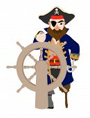 foto of peg-leg  - Isolated pirate holding ship wheel with peg leg and hook hand - JPG