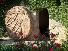 picture of empty tomb  - The Empty Tomb of Jesus with the stone rolled away - JPG