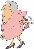 picture of farting  - This illustration depicts an old woman hiking her dress to break wind - JPG