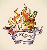 Vintage tattoo design with aces, dagger, rum, flame and banner. Raster image. Find an editable versi
