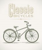 Vintage illustration with a classic cruiser bicycle. Raster image. Find an editable version in my po
