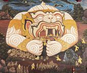 stock photo of masterpiece  - Masterpiece Ramayana painting in temple of emerald Buddha in Grand Palace in Thailand - JPG