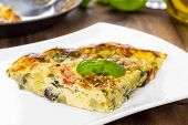 image of italian parsley  - Italian frittata with vegetables and parmesan cheese - JPG