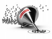 foto of clientele  - Funnel with with the word Management and many chrome balls at the output there is a grey target  - JPG