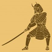 image of shogun  - An armored samurai in carved style illustration - JPG