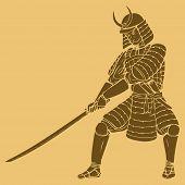 stock photo of shogun  - An armored samurai in carved style illustration - JPG