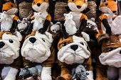 image of minion  - a lot of cuddly stuffed animals arranged in rows - JPG