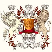 pic of winged-horse  - Vector heraldic illustration in vintage style with shield lion crown and winged horse for design - JPG