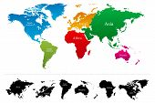 Постер, плакат: World map with colorful continents Atlas