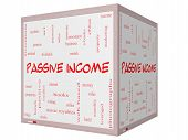 Passive Income Word Cloud Concept On A 3D Cube Whiteboard