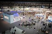Top View Of Booths And People At Homi, Home International Show In Milan, Italy