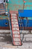 stock photo of por  - View of the Ladder of a old ship - JPG
