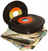 foto of lp  - A pile of 45 RPM vinyl records used and dirty even if in good condition - JPG