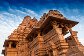image of kandariya mahadeva temple  - Kandariya Mahadeva Temple dedicated to Lord Shiva Western Temples of Khajuraho Madhya Pradesh India - JPG