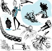 pic of yesteryear  - Moto motocycle retro vintage classicold  illustration - JPG