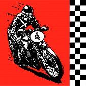 foto of yesteryear  - vector Moto motocycle retro vintage classic illustration - JPG