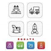 pic of playtime  - Safe playtime: Kids toys pictured here from left to right top to bottom - Blocks Car Rocking horse Space rocket. 